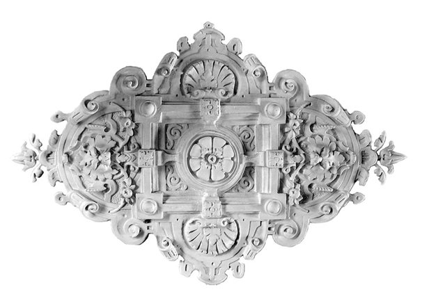 Ornament 15: Hollandse eclectischestijl. 1870. Silberling. Uitgewerkt leeuwenrozet.