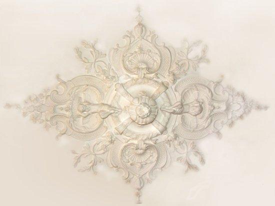 Ornament 40: Hollandse neo barok. 1870. Silberling. Engelen met mand rozet